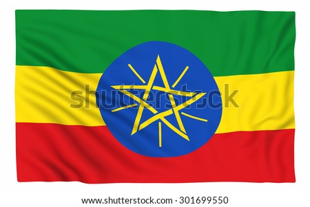 Flag of Ethiopia , isolated on white. - stock photo