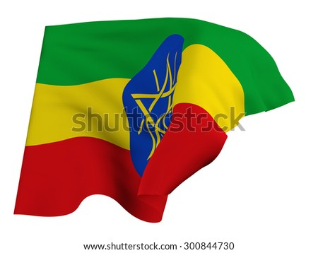 Flag of Ethiopia,isolated, waving in the wind - stock photo