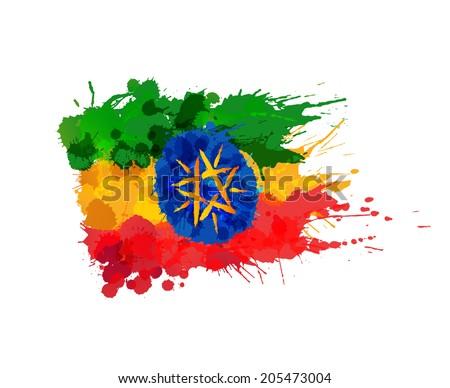 Flag of Ethiopia made of colorful splashes - stock photo