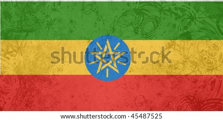 Flag of Ethiopia, national country symbol illustration rough grunge texture