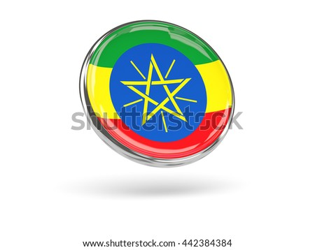Flag of ethiopia. Round icon with metal frame, 3D illustration