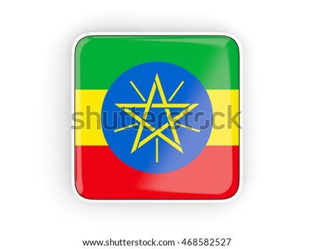 Flag of ethiopia, square icon with white border. 3D illustration