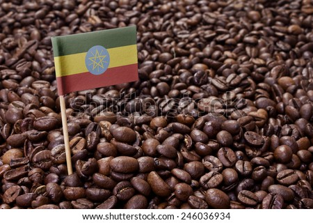 Flag of Ethiopia sticking in roasted coffee beans.(series) - stock photo
