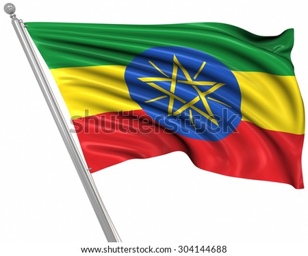 Flag of Ethiopia , This is a computer generated and 3d rendered image.