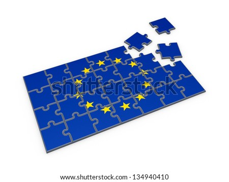 Flag of EU made of puzzles.Isolated on white background.3d rendered. - stock photo