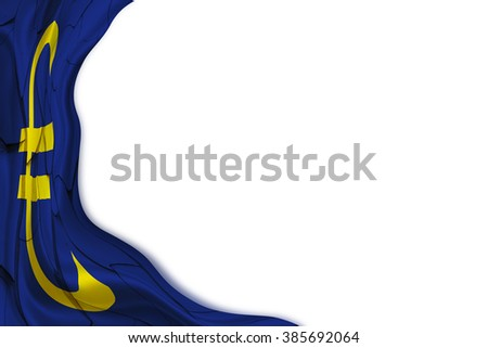 Flag of Euro currency sign as a curtain waiting to be drawn due to instability expanded in the region, after euro zone cannot easily withstand another problem i.e. economic contract, public debt, etc. - stock photo