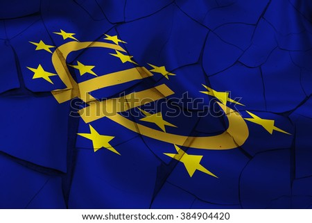 Flag of Euro currency symbol and 12 gold (yellow) stars on a cracked paint wall. A symbol of instability in EU after several crisis arise i.e. anti-austerity plan, immigrant, inflation rate, debt, etc - stock photo