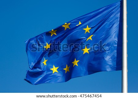 Flag of Europe on the blue sky background