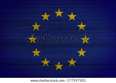 Flag of europe painted on wood background