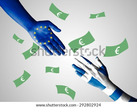 Flag of European Union and Greece painted on hand with Euro background - Greece crisis - stock photo