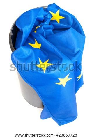 Flag of European Union in Scrap Basket - stock photo