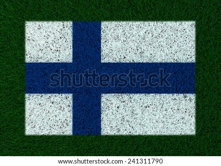 flag of Finland grass texture - stock photo