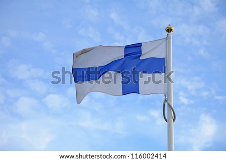 Flag of Finland on blue sky background