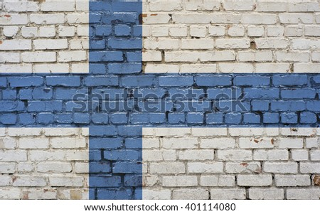 Flag of Finland painted on brick wall, background texture - stock photo