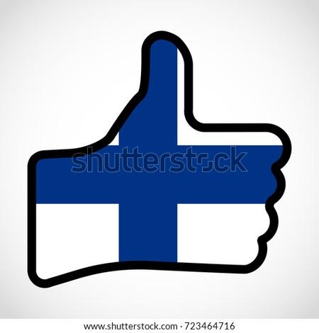 Flag Finn Shape Hand Thumb Up Stock Illustration 723464716