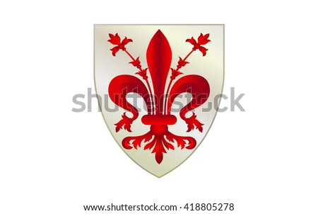 Flag of Florence is the capital city of the Italian region of Tuscany and of Metropolitan of Florence - stock photo