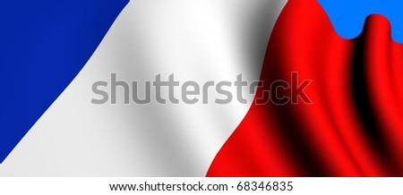 Flag of France against blue background. Close up.