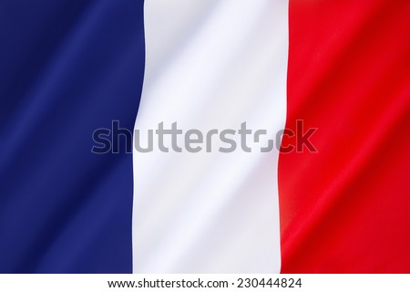 Flag of France -  It is known to English speakers as the French Tricolor. Dates to 1790. - stock photo