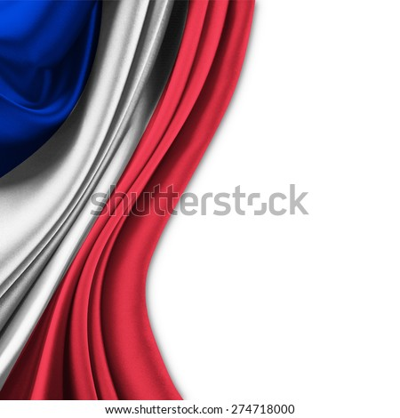 Flag of France  on silk curtain theater up white background - stock photo