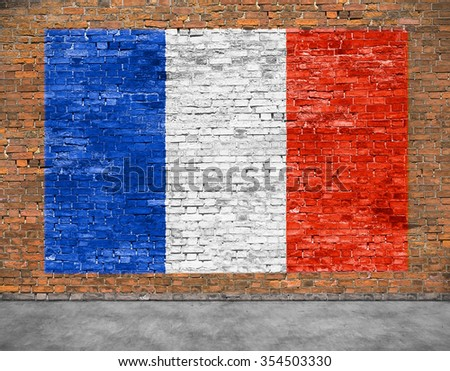 Flag of France painted on aged brick wall - stock photo