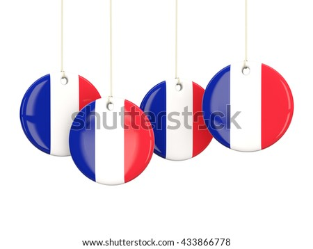 Flag of france, round labels on white. 3D illustration - stock photo
