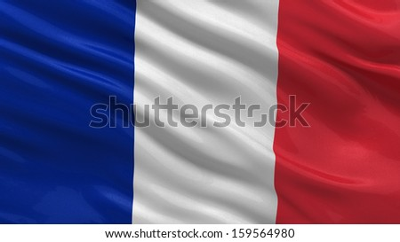 Flag of France waving in the wind - stock photo