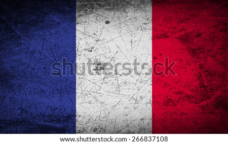 Flag of France with old texture.  illustration - stock photo