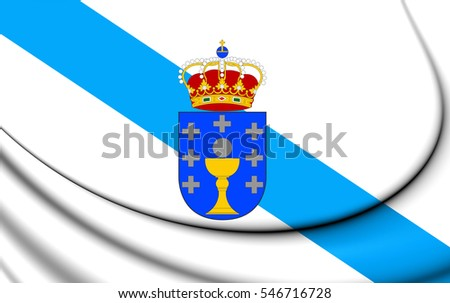 Flag of Galicia, Spain. 3D Illustration.