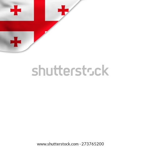 Flag of Georgia located in the corner page - stock photo