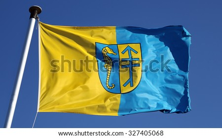 Flag of german island Hiddensee in the sun - stock photo