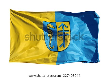 Flag of german island Hiddensee, isolated on white background - stock photo