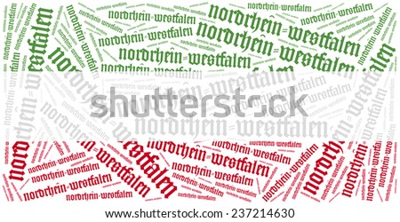 Flag of german state - North Rhine-Westphalia. Word cloud illustration. Inscription in german font and language. - stock photo