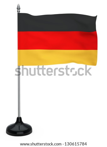 Flag of Germany hanging on the flagpole on a white background - stock photo