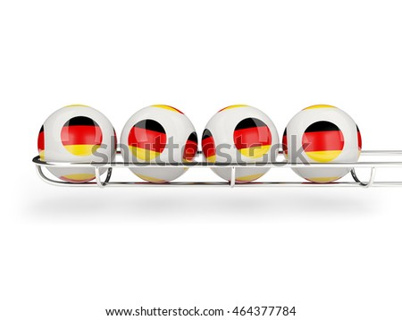 Flag of germany on lottery balls. 3D illustration