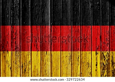 flag of Germany painted on wooden frame - stock photo
