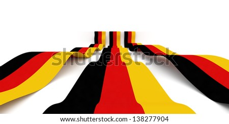 Flag of germany rolling over white background - stock photo