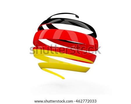 Flag of germany, round icon isolated on white. 3D illustration