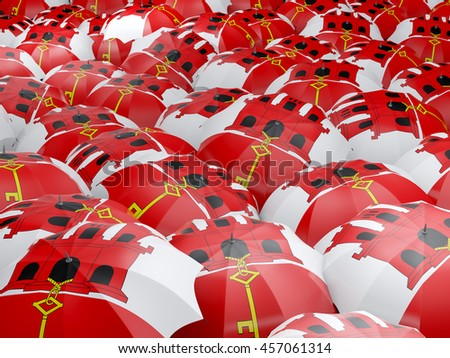 Flag of gibraltar on umbrella. 3D illustration - stock photo