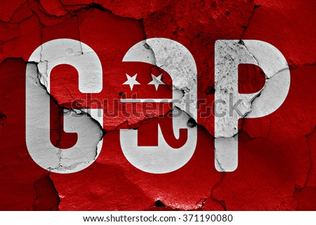 flag of GOP painted on cracked wall - stock photo