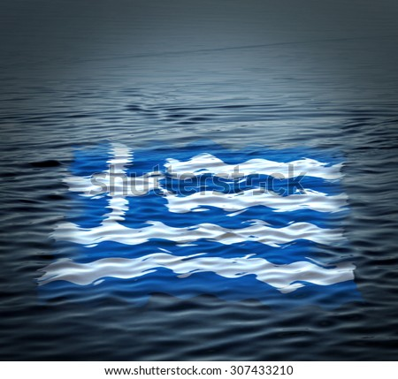 Flag of Greece adrift on the water. Crisis symbol. Sunk flag.  - stock photo
