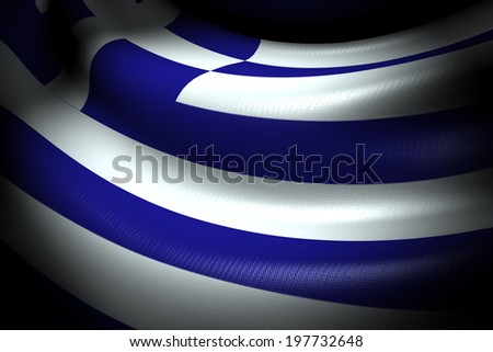 Flag of Greece in the dark with brightness spot - stock photo