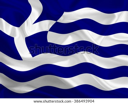 Flag of Greece on silk texture - stock photo