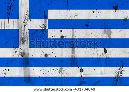 Flag of Greece with scratches, spots and dust as metaphor as metaphor of economical crisis leading to bankruptcy. - stock photo
