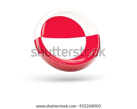 Flag of greenland, round icon. 3D illustration