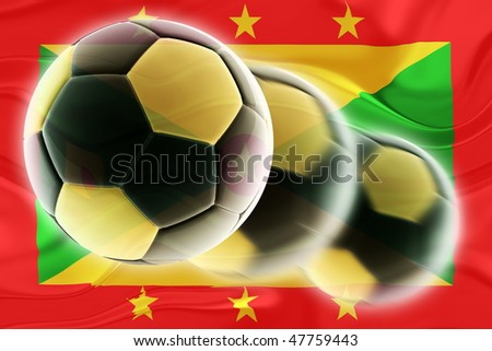 Flag of Grenada, national country symbol illustration wavy sports soccer football