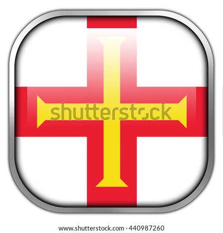 Flag of Guernsey, square glossy button - stock photo