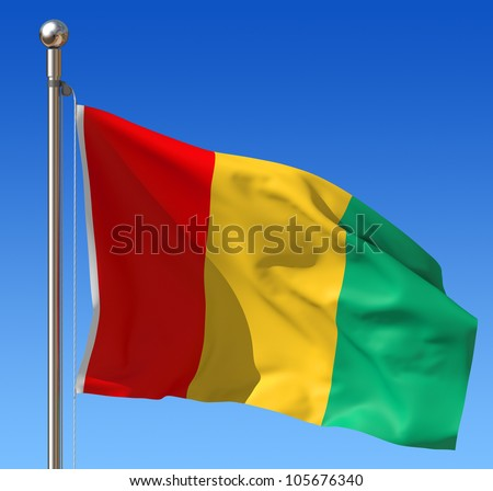 Flag of Guinea waving in the wind against blue sky. Three dimensional rendering illustration.