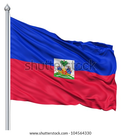 Flag of Haiti with flagpole waving in the wind against white background - stock photo