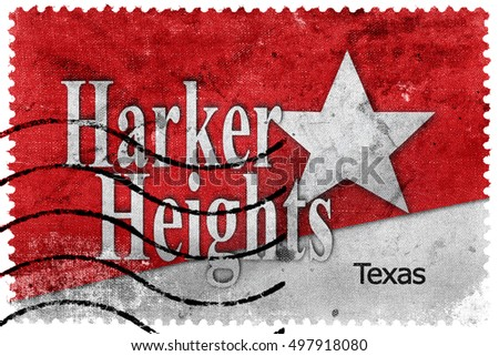 Flag of Harker Heights, Texas, USA, old postage stamp
