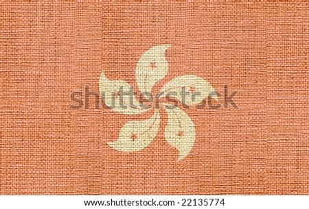 flag of hong kong canvas - stock photo